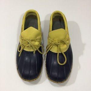 Navy and Yellow Short LL Bean Duck Boots.